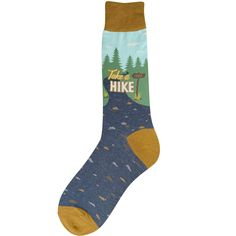 """take a hike men's novelty socks . . . We love the great outdoors! And these fun men's novelty socks say it all--''TAKE A HIKE"""". Showcasing mountains and trials, the socks are a great way to show off your love of getting outdoors and hiking. Cool Socks For Men, Mens Novelty Socks, Comfy Socks, Funny Socks, Get Outdoors, Appalachian Trail, Trials, Letterpress"""