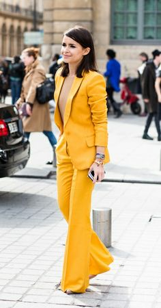 No bra, no problem. Bold yellow. Love the wide leg cut of the trousers. x