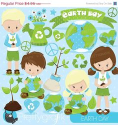 80% OFF SALE Earth day clipart commercial by Prettygrafikdesign