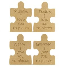 I Love you to pieces, Puzzle Piece Personalised up to 9 letters. Choose from I love you... or we love you....text.  I/we love you to pieces, puzzle piece. You can choose to select a name option from available list or enter your own name in the product type dropdown box. Can be personalised up to 9 letters . 18mm thick free standing. 180mm High. https://www.makersshed.co.uk/product/gifts-mdf/gifts-for-men/17073-i-love-you-to-pieces-puzzle-piece