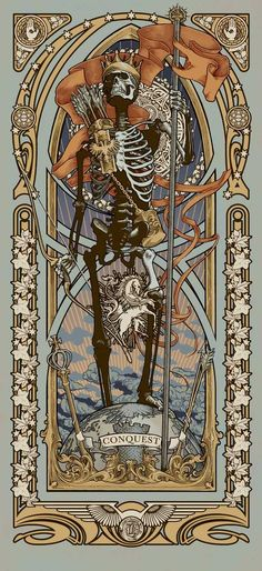 """Reapers of the Apocalypse"" Art Print Set by Ryan Begley Ryan Begley Tatoo Geek, Les Quatre Cavaliers, Art Nouveau, Arte Black, Apocalypse Art, Art Et Illustration, Horror Art, Skull Art, Dark Art"