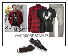 """""""#plaid #wardrobestaples"""" by katymill ❤ liked on Polyvore featuring True Religion, men's fashion, menswear, plaid and WardrobeStaples"""