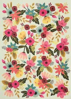 EASY Painted Floral Faux Wallpaper Tutorial  I like this! Think we can do this one!