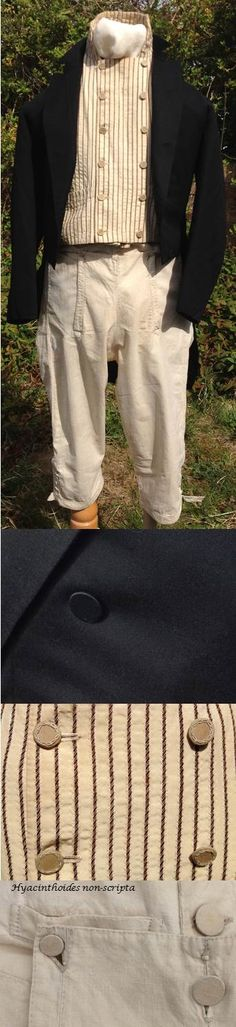 c1820 black tailcoat, c1800 striped waistcoat, 1790s linen breeches.