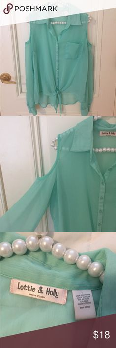 Sheer Tie Shoulder Cutout Blouse Excellent used condition. Button down Blouse with a tie in the front and shoulder cutouts. Size large. Purchased at Tillys. All sales final Lottie & Holly Tops Button Down Shirts