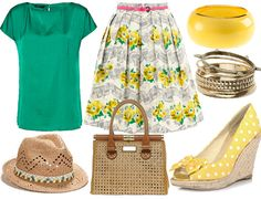 50s skirt and polka dot wedges