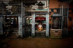Nepal's Kumari (living goddess) Samita Bajracharya, aged 10, sits on her traditional religious chair while waiting for devotees at the Buddhist monastery Ratnakar Bihar in Lalitpur, Nepal, on August 3, 2012, before the beginning of a procession held as part of the Gai Jatra (cow festival) which is dedicated to family members who have passed away recently.     See more of Narendra Shrestha's photos of Samita: Worshipped and then cast aside: the life of a living goddess