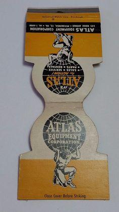 ATLAS EQUIPMENT CORPORATION PITTSBURGH PA. JEWELITE Matchbook Matchcover