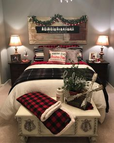 "316 Likes, 18 Comments - Laurie  (@ladypaintsalot) on Instagram: ""It's beginning to look a lot like Christmas  #christmasbedroom #homefortheholidays #plaid…"""