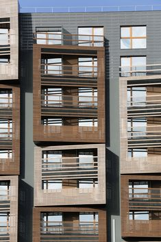 We love the basket weave facade that adds texture to these apartments in Paris. A classically rustic look, it has been modernised with sharp angles that extrude from the building.