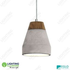 1 Light Eglo Tarega Concrete and Wood Pendant Light - Pendant Lights - Lighting - Lighting Illusions Online