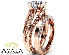 Rose Gold Moissanite Engagement Ring Set Unique 2 by AyalaDiamonds