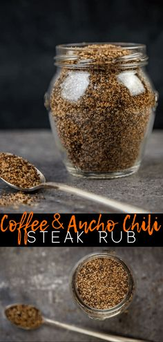 Coffee and ancho chili make a great and easy steak rub. The coffee grounds are balanced with the savory flavor of granulated garlic and very little heat. Add to your favorite cut of beef steak for a savory and earthy finish. Good Steak Recipes, Dry Rub Recipes, Sauce Recipes, Yummy Recipes, Steakhouse Steak, Dry Rub For Steak, How To Grill Steak, Hanger Steak, Caipirinha