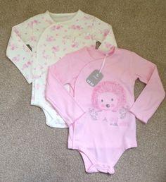 TU Pink Long Sleeve Hedgehog Baby Girl Bodysuits Vests 18-24 Months New