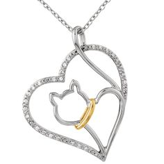 Valentine/'s Day Love Gift Diamond Cat Paw Necklace 1//10 ct tw 14K Gold Plated