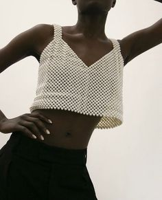 Bevza White Pearl Cropped Top on The Frankie Shop Diy Fashion, Fashion Brands, Ideias Fashion, Fashion Design, Kids Dress Wear, Beaded Bags, Outfit Goals, European Fashion, Couture