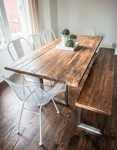 Items similar to Reclaimed century barn board table with stainless steel base modern design on Etsy Reclaimed Wood Dining Table, Wood Table, Barn Board Tables, Barn Boards, Barn Board Projects, House Projects, Deco Restaurant, Wood Design, Modern Design