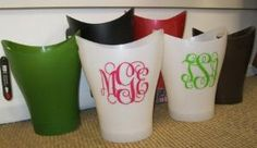 Trash Cans with Monogram - THIS is what I can do with that extra vinyl monogram I have :)