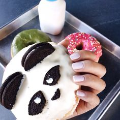 "the cutest donut out there accented with our nail polish in ""serenity""."
