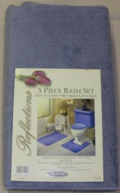 $16.99 5 PIECE BLUE BATHROOM RUG SET, INCLUDES AREA RUG, CONTOUR RUG, LID COVER AND TANK SET - COLOR: BLUE  From Madison