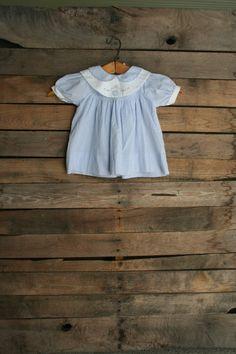 Vintage Children's Blue & White Smocked Gingham Dress by vintapod