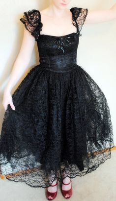 Vintage 1980's Black Lace Spanish Lolita by VintageOfftheCuff, $148.00 prom goth gothic dress black lace