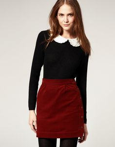 Jaeger - loving all of this. Corduroy skirt with side button and a jumper with detachable collar