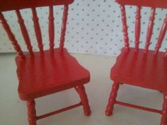 dolls house wooden chairs painted in rd by SmallthingsbyAmanda, £4.95
