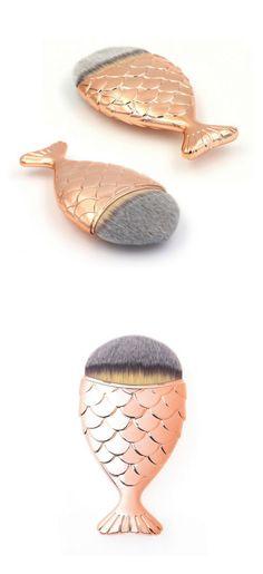 Mermaid Makeup Brush Fishtail Rose Gold