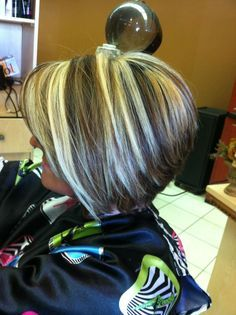 Chunky Blonde Highlights Chunky Lowlights On A Short Inverted Bob ...