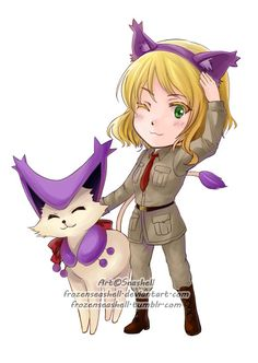 """HetaPoke-Belgium+Delcatty by FrozenSeashell.deviantart.com on @deviantART - Thirtieth in a series pairing Hetalia characters with Pokémon. From the artist's comments: """"If Belgium has Delcatty as her partner Pokemon, during the Kattenstoet parade, Belgium would dress up as Delcatty to celebrate."""""""