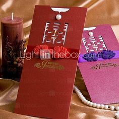 [USD $ 69.99] Traditional Designed Wedding Invitation With Bow - Set of 50 (More Colors)