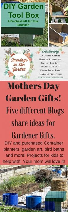 Come Visit our Tuesday in the Garden Blog Hop. This week we share ideas about Mother's day Garden gifts