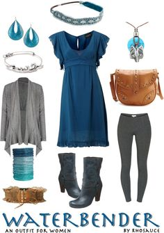 """""""Waterbender (outfit for women) by Rhosauce"""" by rhosaucey on Polyvore"""