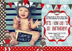 @Brittany Horton Horton Horton Pigott  cute. Sock Monkey Birthday Invitation