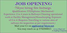 Site Incharge (Railways Cleaning Services) - Jodhpur, Jaisalmer and Barmer http://7skyee.net/7skyee_job.php?title=Site_Incharge_(Railways_Cleaning_Services)_-_Jodhpur,_Jaisalmer_and_Barmer&job_id=222…