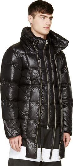 Hood by Air Black Quilted Multi-Zipped Down Jacket