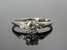 Simple White Gold, Diamond Engagement Ring, Vintage 1950s Mid Century Modern