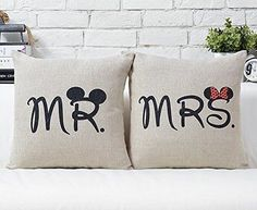 Couples Mr&Mrs His&Hers Disney Pillowcase Anniversary Wedding Gift for…