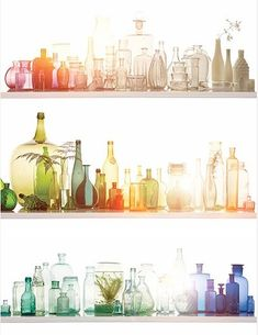 I heart colored glass. Collections of it. Especially collections of like-colored glass bottles. Antique Bottles, Bottles And Jars, Glass Bottles, Vintage Bottles, Vintage Perfume, Perfume Bottles, Paint Bottles, Wine Glass, Antique Glassware