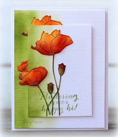 Rapport från ett skrivbord: CAS(E) this Sketch Penny Black Cards, Penny Black Stamps, Poppy Cards, Paint Cards, Making Greeting Cards, Card Maker, Watercolor Cards, Cool Cards, Flower Cards