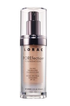 Get a silky (not shiny!) looking medium to full coverage finish with this foundation made for diminishing the appearance of pores. It contains lemon and papaya extract for astringent properties, anti-inflammatory olive leaf extract, and skin-nourishing vitamins A and E. Lorac Porefection Foundation, $36; loraccosmetics.com   - ELLE.com