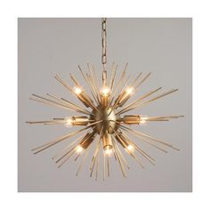 Cost Plus World Market Brass Starburst Collin Chandelier ($250) ❤ liked on Polyvore featuring home, lighting, ceiling lights, sphere lamp, orb chandelier, sphere chandelier, polished brass lighting and solid brass lamps