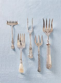 Host's Ultimate Guide to Flatware We break down the basics—and the not-so-basics too (pâté server, anyone?)We break down the basics—and the not-so-basics too (pâté server, anyone? Silver Cutlery, Vintage Cutlery, Sterling Silver Flatware, Vintage Silver, Antique Silver, Dining Etiquette, Table Settings, Antiques, Manners