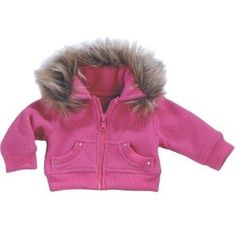 18 Inch Doll Jacket fits American Girl Dolls-Doll Clothes/Clothing- Fur Trimmed Hot Pink Fleece Doll Coat
