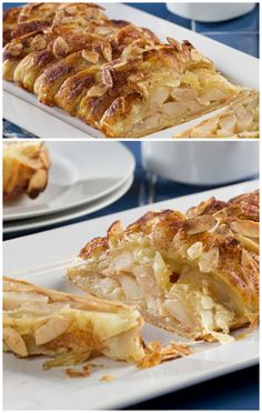 """""""Pear-fect"""" Pear Strudel   #Pears wrapped in a flaky puff pastry and topped with almonds, yum! This fall dessert is easy to make and so ooey gooey tasty."""