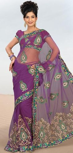$116.16 Purple Net Saree 20628 With Unstitched Blouse