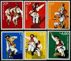 1977-Dance-Famous-ritual-Folk-CALUSARII-Costumes-Danse-Danza-Romania-3474-MNH Folk Costume, Costumes, Folk Dance, My Stamp, Childhood Memories, Stamps, Album, Patterns, History