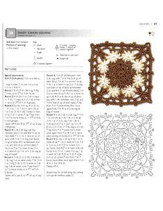 Beautiful motifs / Crochet / Crochet for beginners Crochet Blocks, Crochet Chart, Crochet Squares, Crochet Motif, Crochet Patterns, Granny Squares, Crochet Stitches, Crochet Daisy, Manta Crochet