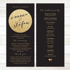 Gold glitter and a black background scream modern wedding.